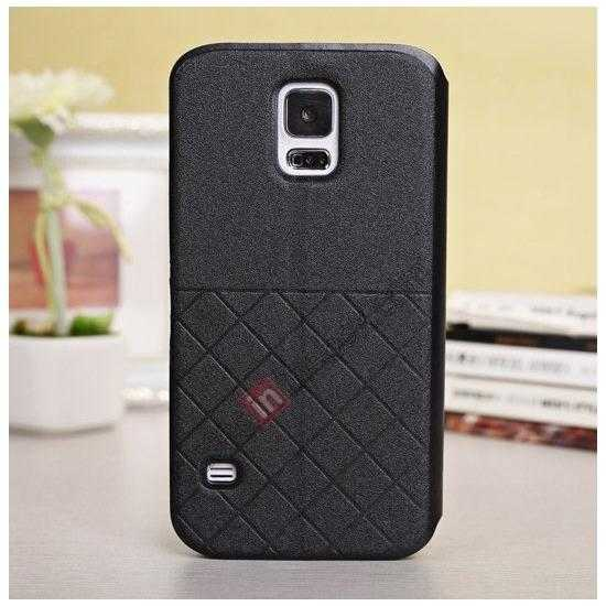 discount Window View Design Slim PU Leather Flip Stand Case For Samsung Galaxy S5 - Black