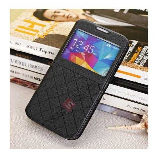 cheap Window View Design Slim PU Leather Flip Stand Case For Samsung Galaxy S5 - Black