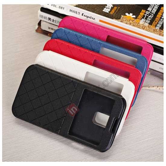 low price Window View Design Slim PU Leather Flip Stand Case For Samsung Galaxy S5 - Black
