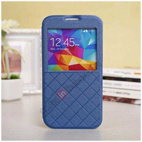wholesale Window View Design Slim PU Leather Flip Stand Case For Samsung Galaxy S5 - Blue