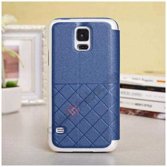 discount Window View Design Slim PU Leather Flip Stand Case For Samsung Galaxy S5 - Blue