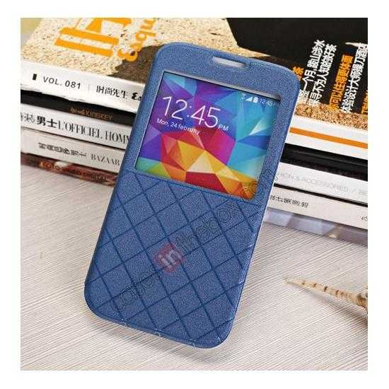 cheap Window View Design Slim PU Leather Flip Stand Case For Samsung Galaxy S5 - Blue