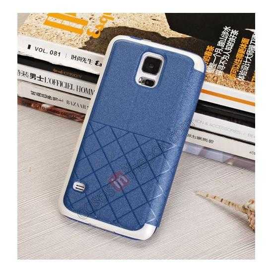 top quality Window View Design Slim PU Leather Flip Stand Case For Samsung Galaxy S5 - Blue
