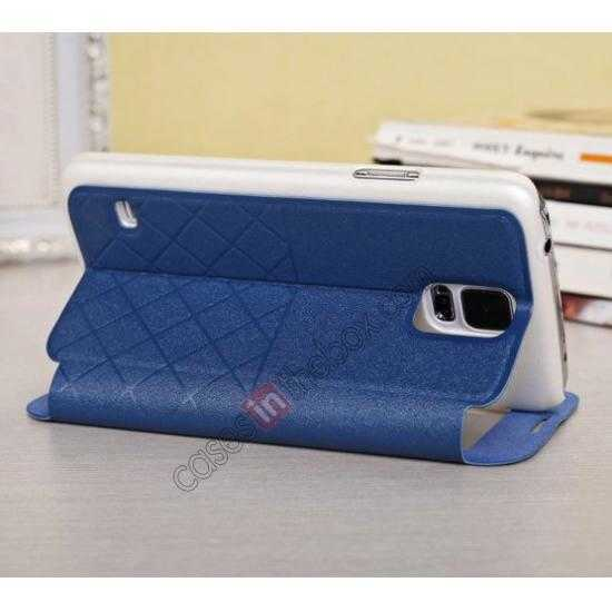 best price Window View Design Slim PU Leather Flip Stand Case For Samsung Galaxy S5 - Blue