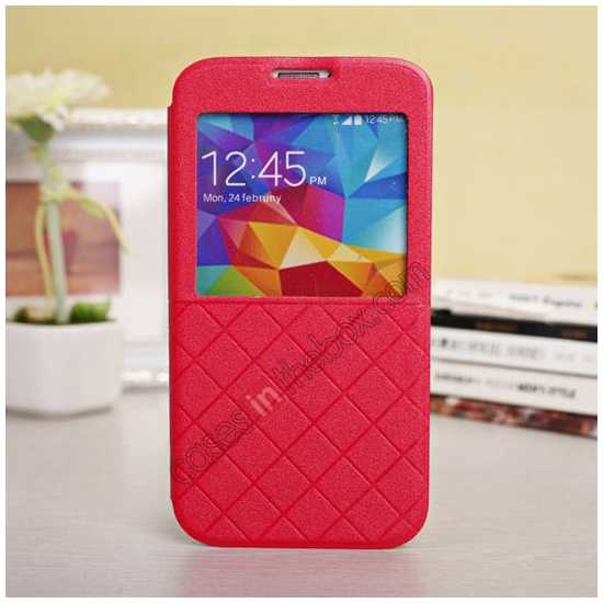 wholesale Window View Design Slim PU Leather Flip Stand Case For Samsung Galaxy S5 - Red