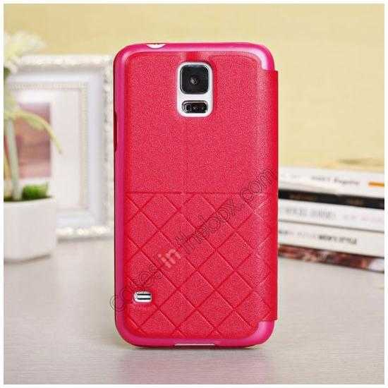 discount Window View Design Slim PU Leather Flip Stand Case For Samsung Galaxy S5 - Red