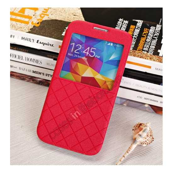 cheap Window View Design Slim PU Leather Flip Stand Case For Samsung Galaxy S5 - Red