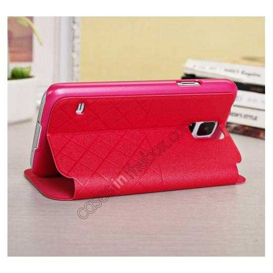top quality Window View Design Slim PU Leather Flip Stand Case For Samsung Galaxy S5 - Red