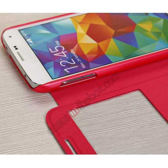 on sale Window View Design Slim PU Leather Flip Stand Case For Samsung Galaxy S5 - Red