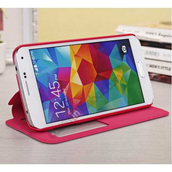 top quality Window View Design Slim PU Leather Flip Stand Case For Samsung Galaxy S5 - Rose
