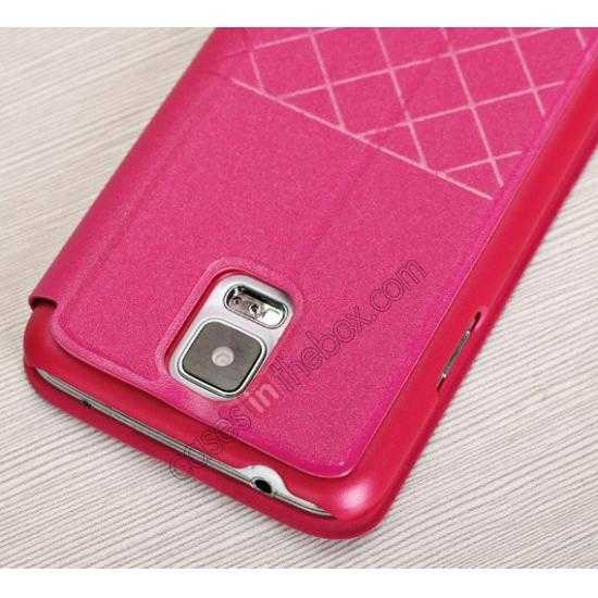 low price Window View Design Slim PU Leather Flip Stand Case For Samsung Galaxy S5 - Rose