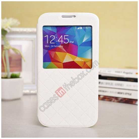 wholesale Window View Design Slim PU Leather Flip Stand Case For Samsung Galaxy S5 - White