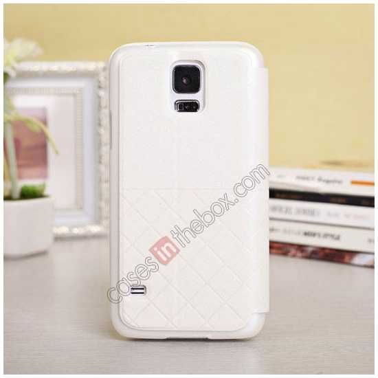 discount Window View Design Slim PU Leather Flip Stand Case For Samsung Galaxy S5 - White