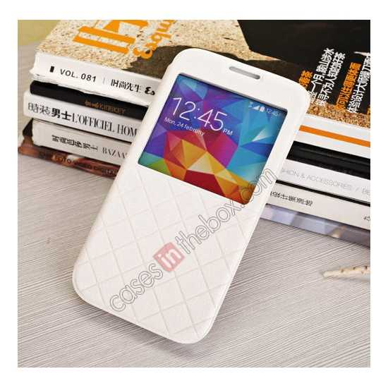 cheap Window View Design Slim PU Leather Flip Stand Case For Samsung Galaxy S5 - White