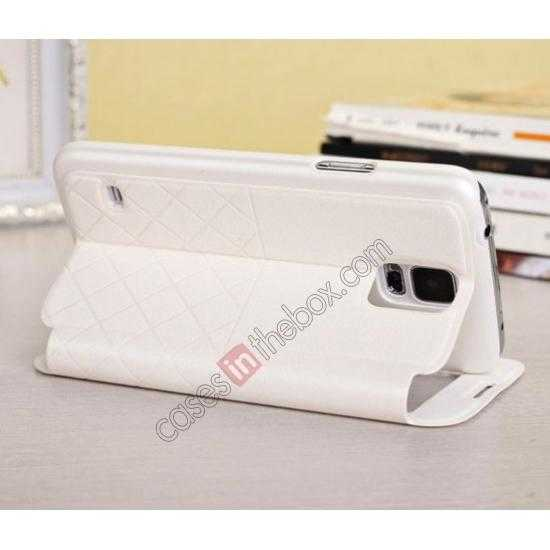 top quality Window View Design Slim PU Leather Flip Stand Case For Samsung Galaxy S5 - White
