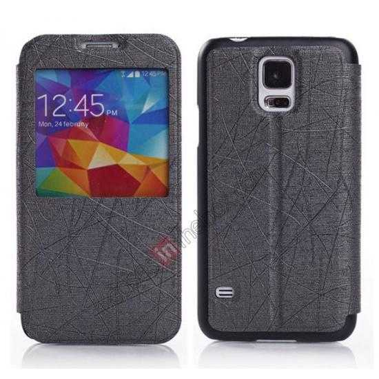 wholesale Wire Drawing Wallet Leather Case with Card Slot For Samsung Galaxy S5 G900 - Black