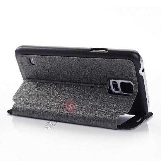 best price Wire Drawing Wallet Leather Case with Card Slot For Samsung Galaxy S5 G900 - Black