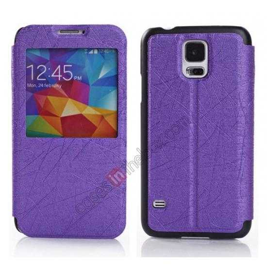 wholesale Wire Drawing Wallet Leather Case with Card Slot For Samsung Galaxy S5 G900 - Purple