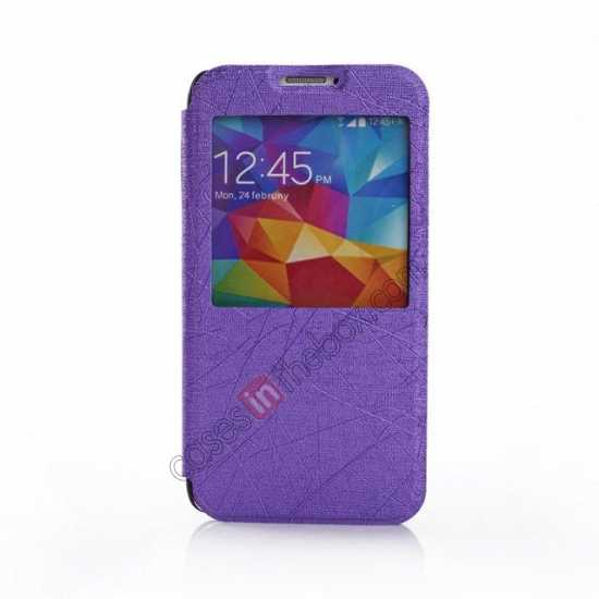 discount Wire Drawing Wallet Leather Case with Card Slot For Samsung Galaxy S5 G900 - Purple