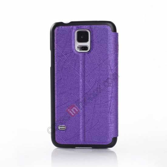 cheap Wire Drawing Wallet Leather Case with Card Slot For Samsung Galaxy S5 G900 - Purple