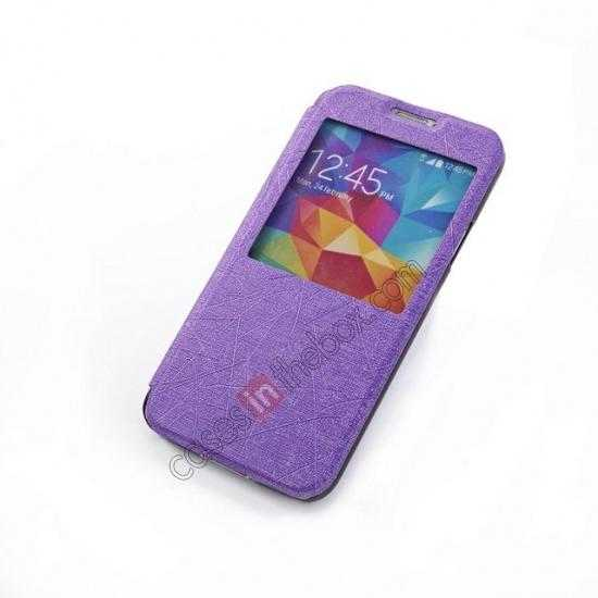 top quality Wire Drawing Wallet Leather Case with Card Slot For Samsung Galaxy S5 G900 - Purple