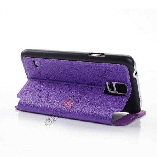 best price Wire Drawing Wallet Leather Case with Card Slot For Samsung Galaxy S5 G900 - Purple