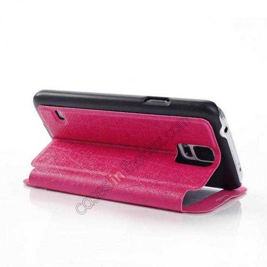 best price Wire Drawing Wallet Leather Case with Card Slot For Samsung Galaxy S5 G900 - Rose