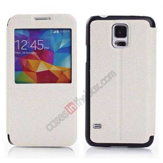 wholesale Wire Drawing Wallet Leather Case with Card Slot For Samsung Galaxy S5 G900 - White