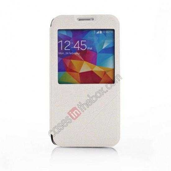 discount Wire Drawing Wallet Leather Case with Card Slot For Samsung Galaxy S5 G900 - White