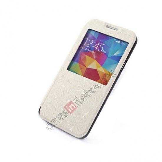 top quality Wire Drawing Wallet Leather Case with Card Slot For Samsung Galaxy S5 G900 - White