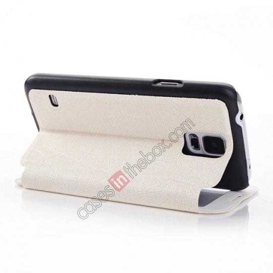 best price Wire Drawing Wallet Leather Case with Card Slot For Samsung Galaxy S5 G900 - White