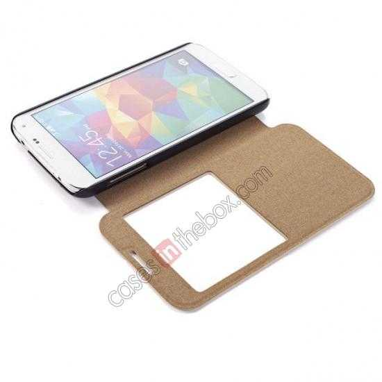 low price Wire Drawing Wallet Leather Case with Card Slot For Samsung Galaxy S5 G900 - White