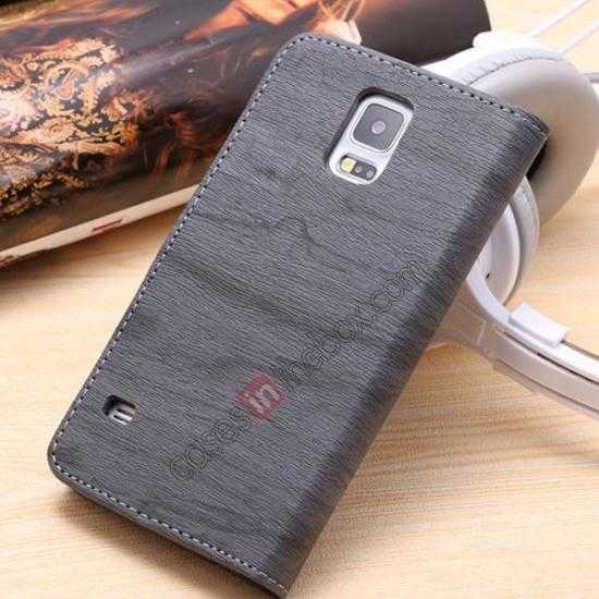 discount Wood Texture Leather Stand Case for Samsung Galaxy S5 with Credit Card Slots - Grey
