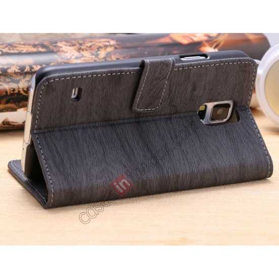 cheap Wood Texture Leather Stand Case for Samsung Galaxy S5 with Credit Card Slots - Grey