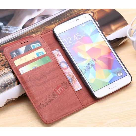 best price Wood Texture Leather Stand Case for Samsung Galaxy S5 with Credit Card Slots - Grey