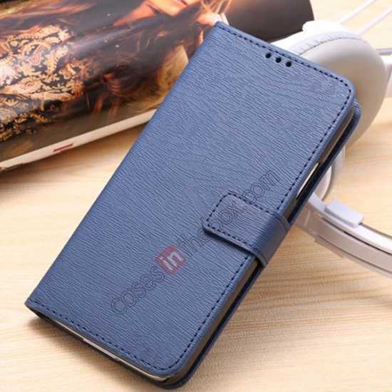 wholesale Wood Texture Leather Stand Case for Samsung Galaxy S5 with Credit Card Slots - Navy Blue