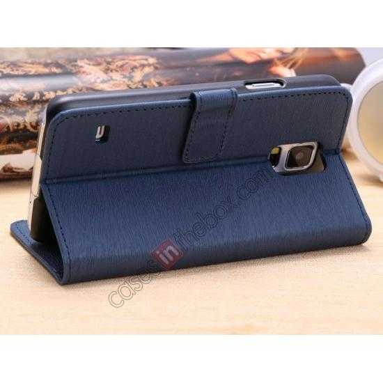 cheap Wood Texture Leather Stand Case for Samsung Galaxy S5 with Credit Card Slots - Navy Blue