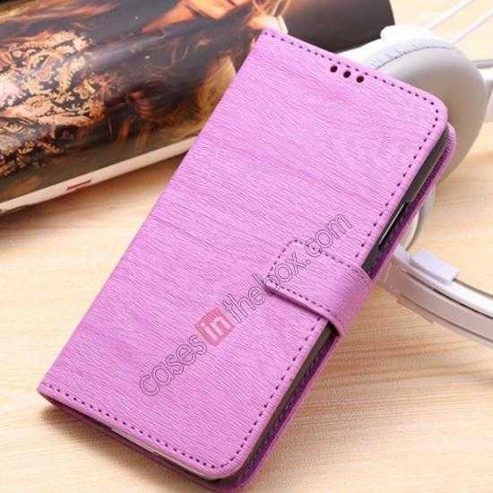 wholesale Wood Texture Leather Stand Case for Samsung Galaxy S5 with Credit Card Slots - Purple