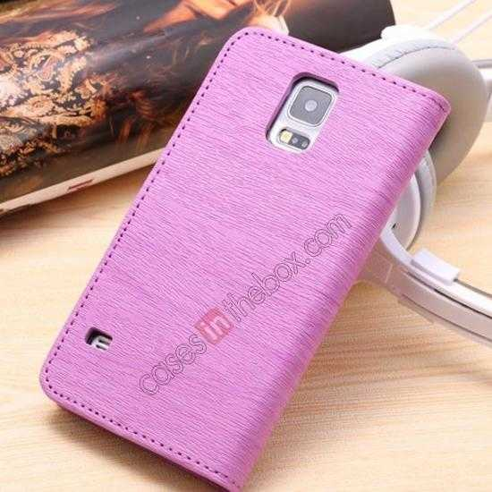 discount Wood Texture Leather Stand Case for Samsung Galaxy S5 with Credit Card Slots - Purple