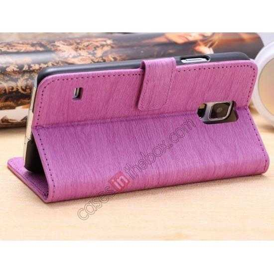 cheap Wood Texture Leather Stand Case for Samsung Galaxy S5 with Credit Card Slots - Purple