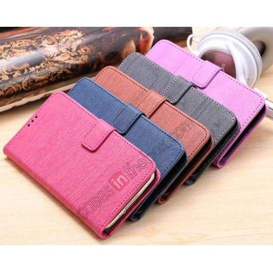 on sale Wood Texture Leather Stand Case for Samsung Galaxy S5 with Credit Card Slots - Purple