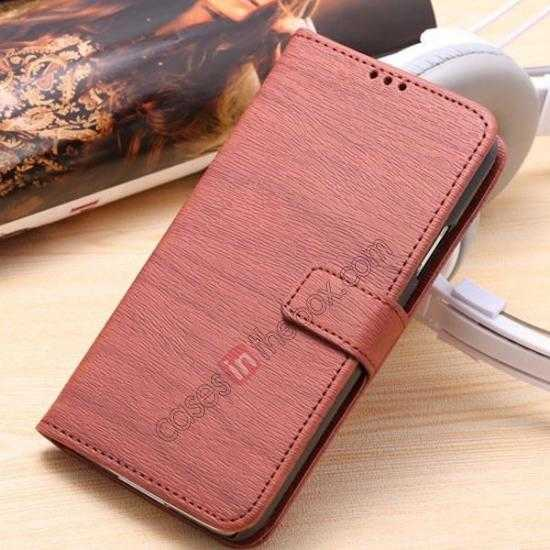 wholesale Wood Texture Leather Stand Case for Samsung Galaxy S5 with Credit Card Slots - Red Brown