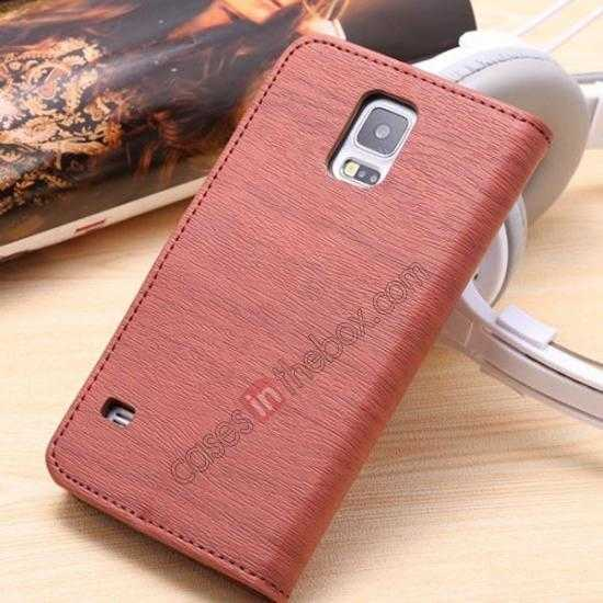 discount Wood Texture Leather Stand Case for Samsung Galaxy S5 with Credit Card Slots - Red Brown