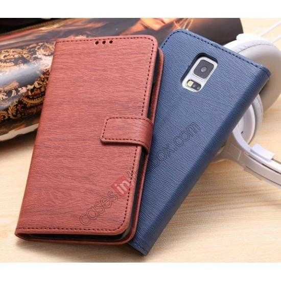 cheap Wood Texture Leather Stand Case for Samsung Galaxy S5 with Credit Card Slots - Red Brown