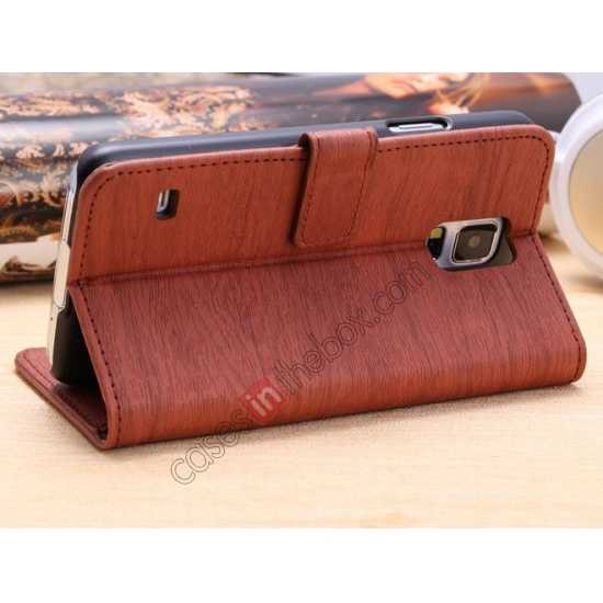 top quality Wood Texture Leather Stand Case for Samsung Galaxy S5 with Credit Card Slots - Red Brown