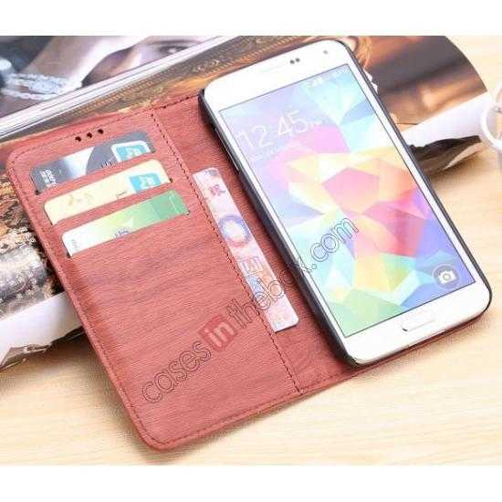 on sale Wood Texture Leather Stand Case for Samsung Galaxy S5 with Credit Card Slots - Red Brown