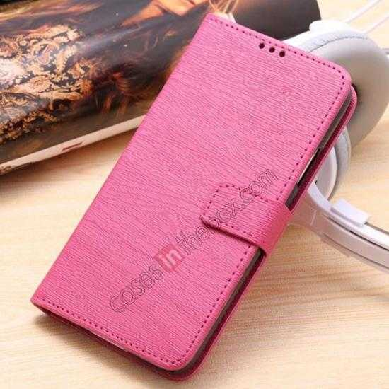 wholesale Wood Texture Leather Stand Case for Samsung Galaxy S5 with Credit Card Slots - Rose