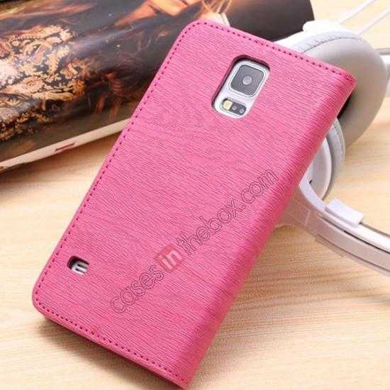 discount Wood Texture Leather Stand Case for Samsung Galaxy S5 with Credit Card Slots - Rose