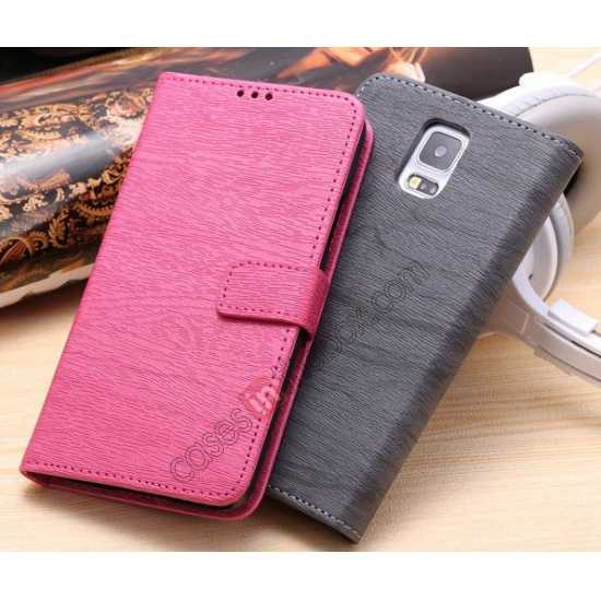 cheap Wood Texture Leather Stand Case for Samsung Galaxy S5 with Credit Card Slots - Rose