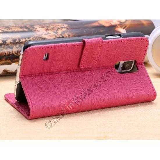 top quality Wood Texture Leather Stand Case for Samsung Galaxy S5 with Credit Card Slots - Rose